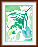 Framed Green Water Leaves I