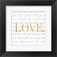 Gold Love and Life I Framed Print