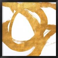 Gold Circular Strokes I Framed Print