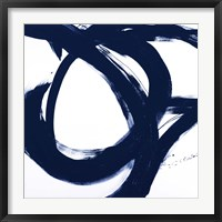 Framed Navy Circular Strokes I