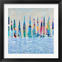 Framed Dozen Colorful Boats