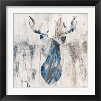 Framed Blue Rhizome Deer Bust