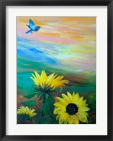 Framed BlueBird Flying Over Sunflowers