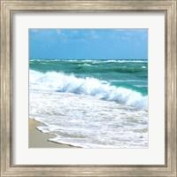 Framed Teal Surf I
