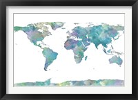 Framed World Map Watercolor