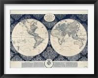Framed Blue Map of the World