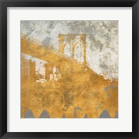 NY Gold Bridge at Dusk I Framed Print
