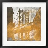 NY Gold Bridge at Dusk II Framed Print