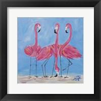 Framed Fancy Flamingos II