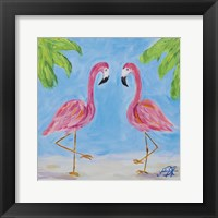 Framed Fancy Flamingos III
