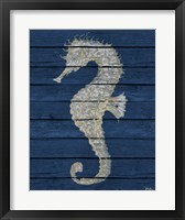 Antique Seahorse on Blue II Framed Print