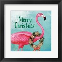 Framed Christmas Flamingo Text