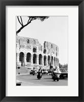 Framed Colessium With Moped Rome