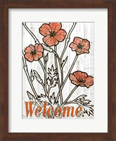 Framed Welcome Poppies