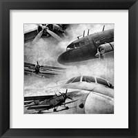 Framed Vintage Plane Montage BW