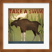 Framed Take a Swim Moose