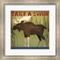 Framed Take a Swim Moose