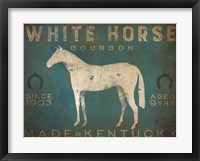 Framed White Horse with Words Blue