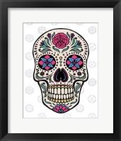 Sugar Skull on Gray Framed Print