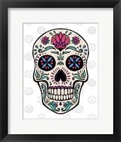 Framed Sugar Skull II on Gray