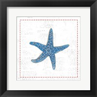 Navy Starfish on Newsprint with Red Framed Print