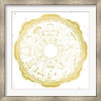 Framed Night Sky Zodiac White and Gold