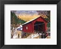 Framed Sunset At The Old Bridge, Vermont