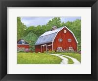 Framed Hollyhock Farm