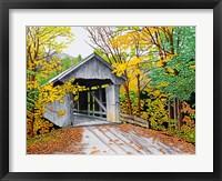 Framed Vermont Bridge In Fall