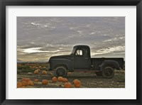 Framed Black Truck In Pumpkin Patch 1