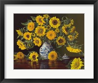 Framed Sunflowers in Blue and White Vase