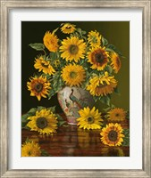 Framed Sunflowers In A Peacock Vase