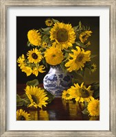 Framed Sunflowers in Blue & White Chinese Vase