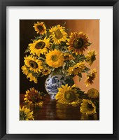 Framed Sunflowers in a Blue Willow Vase