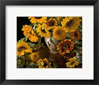 Framed Sunflowers in a White Chinese Vase