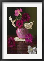 Framed Petunias In Pink Vase