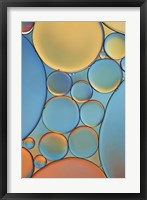 Framed Blue and Apricot Drops