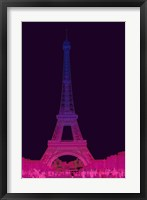 Framed Magenta Eiffel Tower