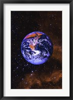 Framed Bright Blue Earth