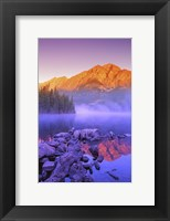 Framed Mountain Reflection, Purple Fog