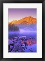 Framed Mountain Reflection, Purple Fog