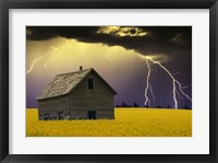Framed Old House with Lightning