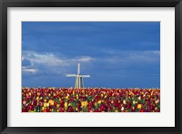 Framed Windmill with Tulips