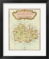Framed Petite Map of Island of Antigua