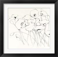 Framed Black Line Poppies I