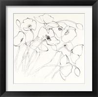 Framed Black Line Poppies II