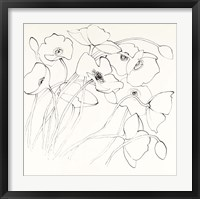 Framed Black Line Poppies II
