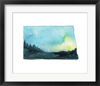 Framed North Dakota State Watercolor