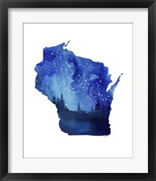 Framed Wisconsin State Watercolor