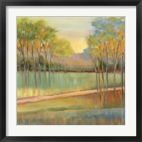 Framed Road Through Blue Fields
